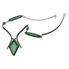 Vintage silver and malachite modernist modern elegant silver necklace
