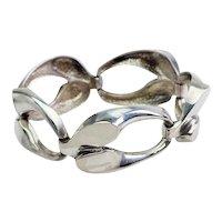 Vintage modern chunky heavy organic loop links 835 silver bracelet
