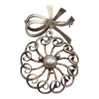 John Lauritzen Denmark vintage sterling silver filigree modern pin brooch