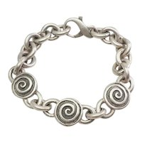 Vintage heavy swirls spiral design sterling silver modern bracelet