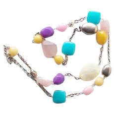 Lucas Lameth LUC happy colors gemstone and glass sterling silver long necklace