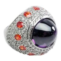 Large studded crystals and amethyst sterling silver statement ring size 7