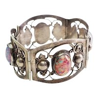 Superb large glass and filigree sterling silver wide bracelet Far Fan Mexico