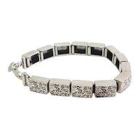 Vintage modern rough industrial sterling silver designer bracelet by Megido
