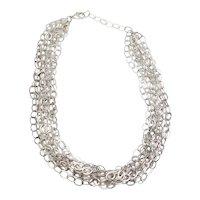 Stunning vintage sterling silver multi chain oval link shimmering necklace