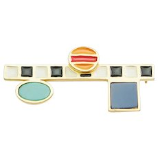 Vintage multicolor enamel modernist pin brooch by Karl Lagerfeld Chanel