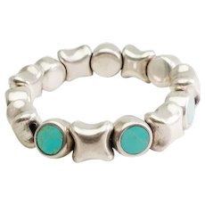 Unique chunky organic shape sterling silver and turquoise stretch bracelet