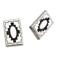 Vintage sterling silver pearl Navajo Native American signed clip on earrings