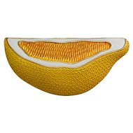 Wonderful modern crown Trifari yellow enamel lemon fruit slice vintage pin