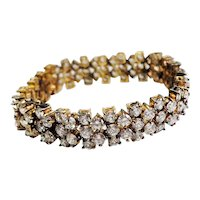 Amazing elegant vintage sterling silver and crystals studded bracelet
