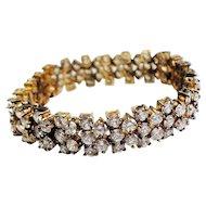 Amazing elegant vintage sterling silver and crystals studded bracelet