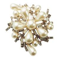 Vintage Hattie Carnegie rhinestones faux pearl Art Deco pin brooch