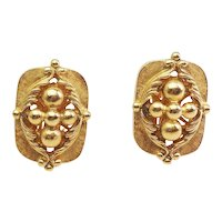 Superb large intricate vintage gold tone metal Barrera clip on earrings