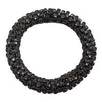 Amazing large studded faceted black onyx set gemstones flexible bangle bracelet
