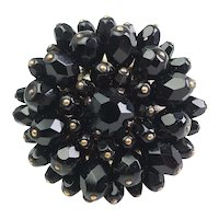 High fashion large black onyx flower cocktail open ring by Andrew GN Paris