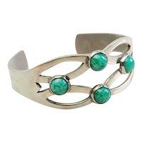 Modernist vintage sterling silver and natural gemstones cuff bracelet Mexico