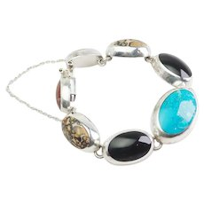 Stunning large sterling silver turquoise onyx jasper heavy bracelet Mexico