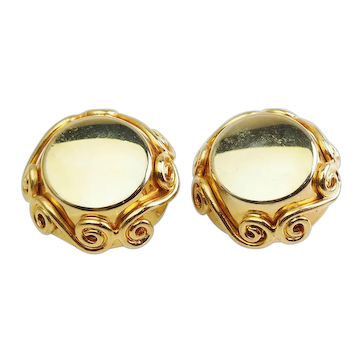 Stunning vintage large gold tone metal high fashion clip on earrings by Celine