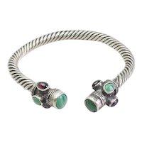 Vintage sterling silver heavy twisted gemstones cuff bracelet