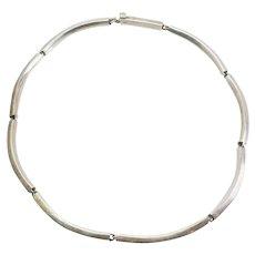 Hand made artisan modernist elegant sterling silver necklace