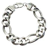 Heavy curb chain sterling silver elegant designer bracelet Italy