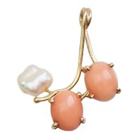 Unique vintage 14k gold corals and pearl organic shape pendant