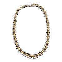 Elegant vintage sterling silver and brass large link heavy modernist necklace