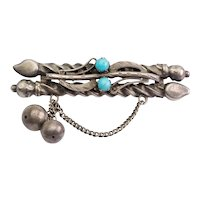 Antique handmade 84 silver and turquoise pin brooch Russia