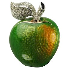 Authentic Swan Swarovski crystals and enamel green apple fruit pin brooch