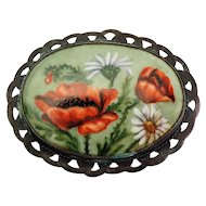 Beautiful large vintage red poppy flowers painted on porcelain retro pin brooch