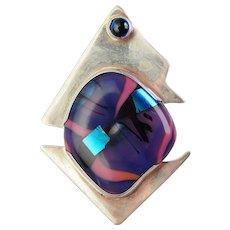 Amazing modernist sterling silver cobalt glass large designer brooch pendant