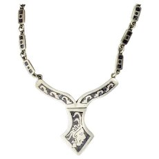 Mexico vintage modern ethnic theme inlaid sterling silver necklace
