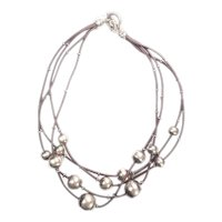Fun modern leather and sterling silver ball necklace