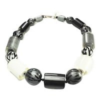 Fun chunky designer plastic lucite black silver and white necklace by Zahara
