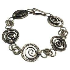 Unique hand made designer JM vintage sterling silver spiral bracelet