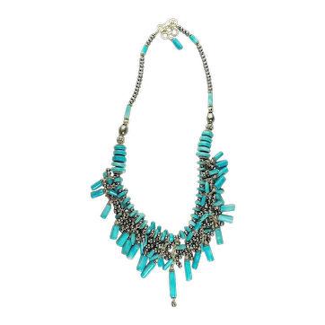 Southwestern Native American style sterling silver pearl turquoise necklace 74g