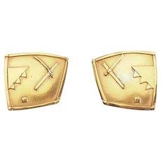 Vintage gold plated sterling silver modernist earrings Roberta David Williamson