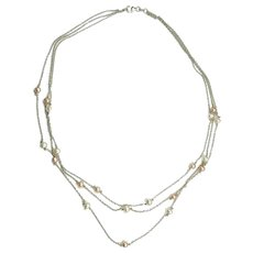 Elegant 14k white gold and pearls 3 string chain necklace Italy