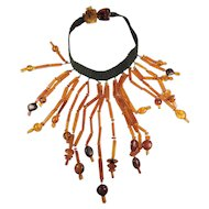 Gorgeous hand made artisan large genuine amber dangling choker necklace