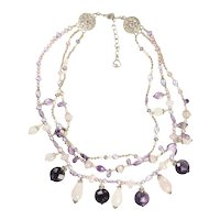 Designer quartz amethyst pearl and silver sparkling 3 string necklace by St John