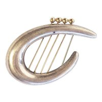 Vintage Rachel Gera Hadassah Keepers of Gate sterling silver 14k gold harp pin