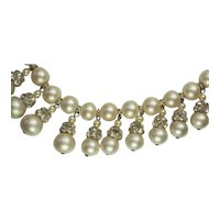 Gorgeous couture vintage Vendome faux pearl and rhinestones necklace