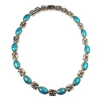 Amazing tribal long sterling silver and turquoise necklace Mexico