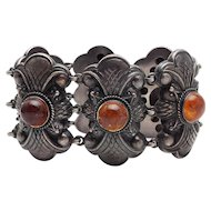 Vintage hand made sterling silver Baltic amber bracelet by E. Veidemanis Latvia