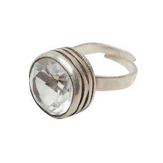 Stunning Bengt Hallberg designer modern sterling silver crystal ring Sweden