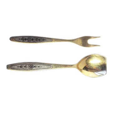 Vintage Russian niello sugar condiment spoon and fork set 875 silver