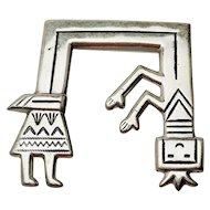 Large sterling silver Florence Johnson Navajo Yeibichai Kachina dancer pin