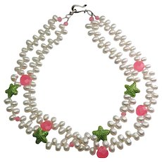 Wonderful designer cultured real pearl enamel starfish sterling silver two strand necklace