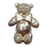 Joanie Nelkin dressed teddy bear toy sterling silver belt buckle