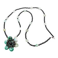 Gorgeous long sterling silver natural black green gemstone flower necklace AIL